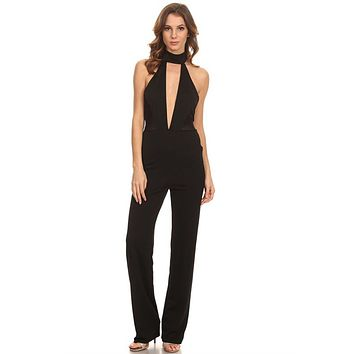Sexy Black Halter Neck Plunging Neckline Sleeveless Jumpsuit