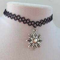 Charm tattoo choker celestial sun stretchy henna necklace
