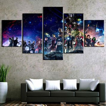 HD Print 5 Piece Avengers Infinity War Movie Poster Paintings on Canvas Wall Art for Home Decorations Wall Decor Wall Picture