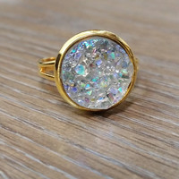 Druzy Ring- ab light grey drusy Gold tone druzy ring