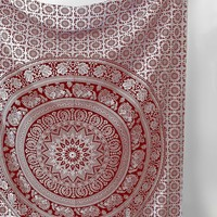 Red White Mandala Bohemian Wall Boho Twin Size Tapestry