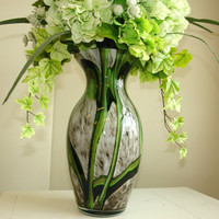 hand blown glass vase spring summer floral arrangement, top table decoration, green hydrangeas centerpieces