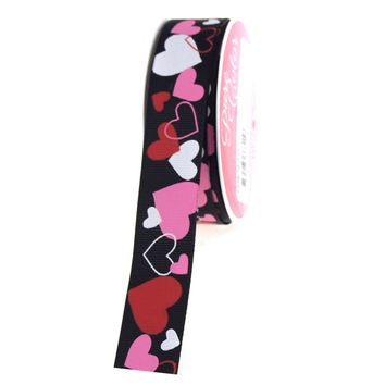 Heartfelt  Black Grosgrain Ribbon, 7/8-inch, 4-yard