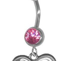 Rose Pink Infinity Belly Button Ring 14 gauge 3/8 Steel Barbell-Dangle Figure 8 Navel Ring