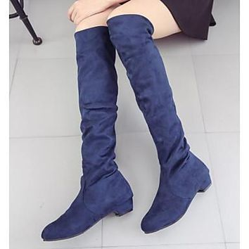 Women's Shoes Nappa Leather Winter Fashion Boots Slouch Boots Boots Chunky Heel Knee High Boots for Casual Black Dark Blue Brown Red