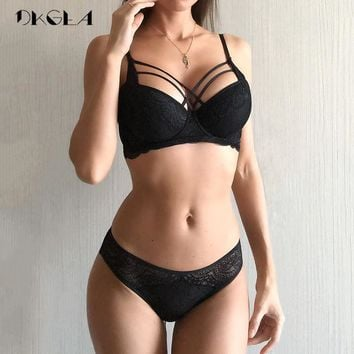 Classic Bandage Black Bra Set Push Up Brassiere Thick Cotton Underwear Set Sexy Bras Lace Embroidery Gather Women Lingerie Sets