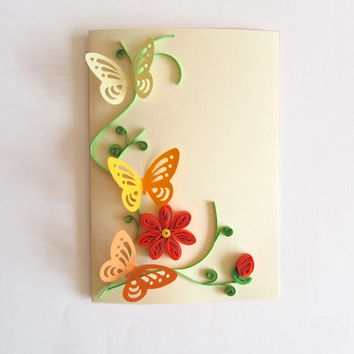 Spring Flower Card, Happy Birthday Card, Handmade Quilling Card, Thanksgiving Card, Mother's Day Card blank