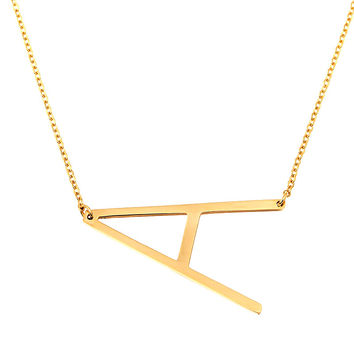 Letter Necklace Pendant Fashion Vintage Jewelry Chain Initial Stainless Steel Men Jewelry Womens Jewellery Choker Collier Girl