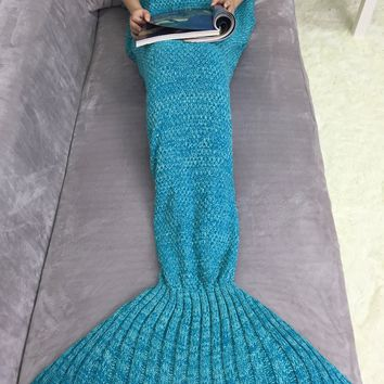 Keep Warm Acrylic Knitting Mermaid Tail Sofa Blanket