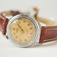 Collectible men's watch Rodina first automatic Soviet watch rare self winding watch gift him premium leather strap antiallergic