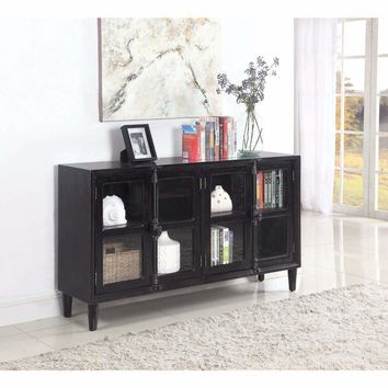 Traditional Wooden Accent Cabinet With Glass Doors,  Black By Coaster