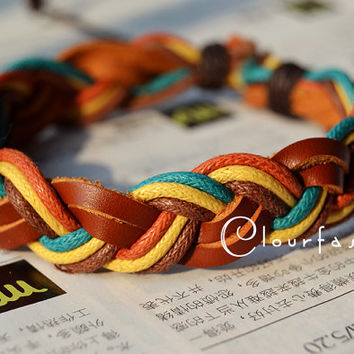 Christmas Gift, Halloween Gift, Fashion Multilayer Weaved Leather Cotton rope Wrap Bracelet W-80