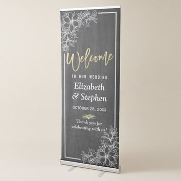 Chalkboard Floral Chic Gold Script Wedding Welcome Retractable Banner