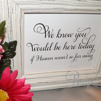 We Know you would be here today, Wedding Sign, Cards and Gifts, Let Love Sparkle, Cards & Gifts, Reserved, Photo Booth, Reception Seating