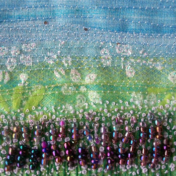 Lavender landscape - fabric landscape - fibre art card  - beaded and embroidered card - french knots - 5 inch square card