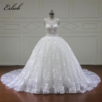 Eslieb Vintage Wdiing Dress 2018 Beaded Cap Sleeve Ball Gown Sleeves Ruffles Wedding Dresses Studio Flower Vestido De Noiva