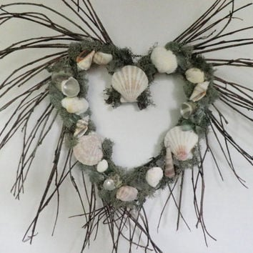 Beach Seashell Heart Wreath,Twig Wreath With Green Moss Seashells And Sea Glass for Beach Themed Home Decor