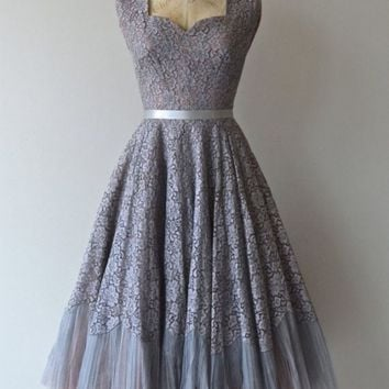 Vintage Short Lace Prom Dress/Homecoming Dress with Sash