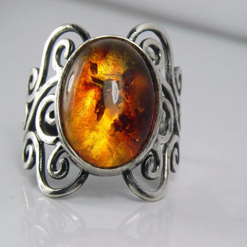 Amber Ring - Baltic Amber Swirl Ring - Unique Silver Amber Jewelry - Antique Swirls - Vintage Inspired Filigree
