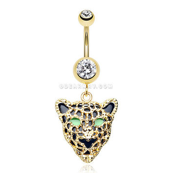 Golden Black Onyx Panther Belly Button Ring (Clear)