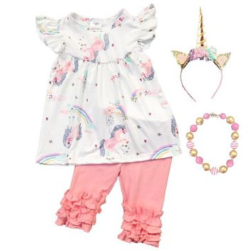Coral Unicorn Outfit Rainbow Ruffle Top And Pants