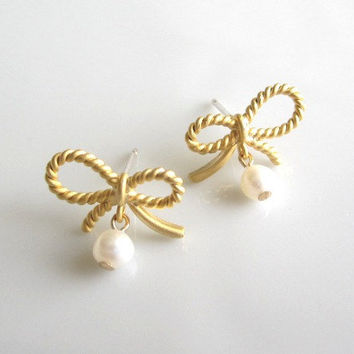 Cute Tiny Ribbon Bow Earrings, Gold and Fresh Water Pearl - Lovely dainty everyday wear