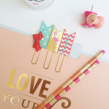 Flamingo Planner Paper Clips, Planner Jumbo Bookmark, Planner Accessories