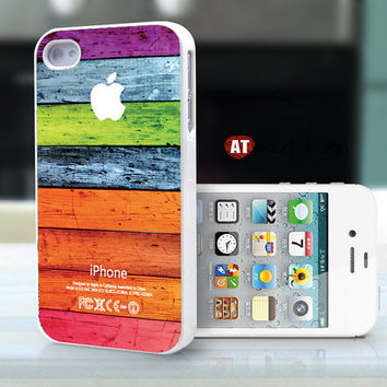 iphone case iphone 4s case iphone 4 cover white iphone case colorized wood texture Iphone Logo design printing