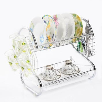 2 Tier Kitchen water drip Bowls Storage Holders Rack cutlery Shelf fruit and vegetable Dish Rack Set Drying Utensil FreeShipping
