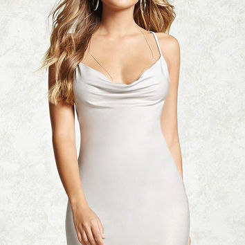 Satin Cowl Neck Cami Dress