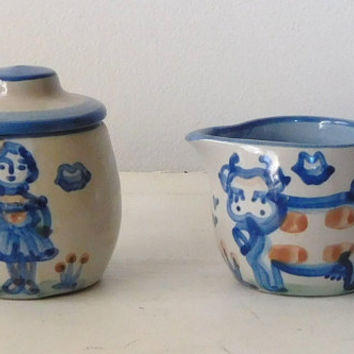 MA Hadley Sugar Bowl and Creamer with Lid Set Blue Stoneware Pottery Vintage