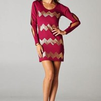 Red & Gold Studded Chevron Dress with Open Sleeves