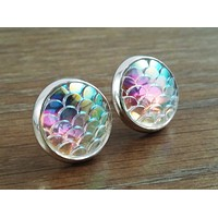 Mermaid Scales- ab rainbow clear mermaid/ dragon scale earrings