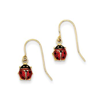 7mm Enameled Ladybug Dangle Earrings in 14k Yellow Gold