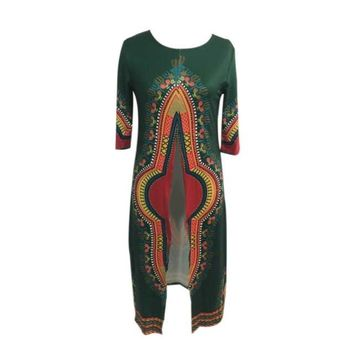 2016 Women african traditional dresses for women Print Polyester Fabric Irregular Africa Maxi Ladies dresses Clothing