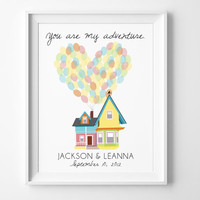 "Personalized Home Decor Inspired by Disney/Pixar Movie Up - Carl and Ellie's House w/ Balloons - ""You Are My Adventure"" - Digital or Printed"