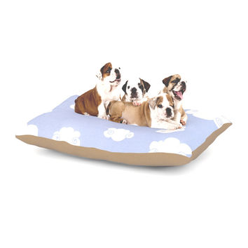 """Heidi Jennings """"Happy Clouds"""" White Blue Dog Bed"""