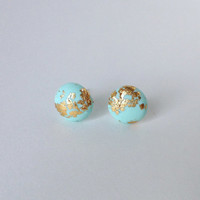 Mint Glow in The Dark Earrings with 24 Karat Gold Leaf - one of a kind and made to order