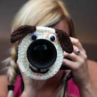 Camera lens buddy. Crochet lens critter puppy. Photographer helper