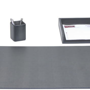 School Office Boardroom Meeting Table Top Accessories Black Leather 3 Piece Desk Organizer Set
