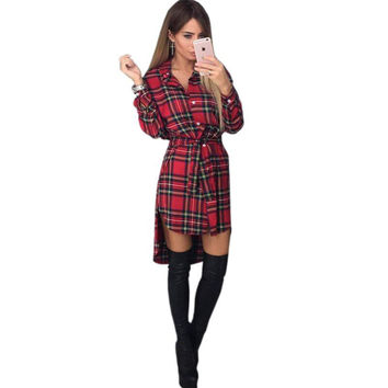 Spring lattice Print Grid Dress Sexy Long Sleeve Office Dresses Bodycon Bandage Street Dress Fall Robe Pull Femme Hiver Vestidos