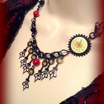 Steampunk Jewelry, Steampunk Necklace set with Black clock hands, vintage looking clock face, Neo Victorian, Unique Jewelry, Gift for her