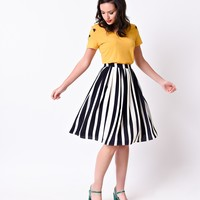Retro Style Navy & White Stripe High Waist Circle Skirt