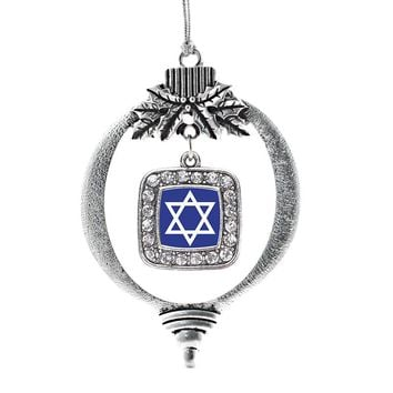 Star of David Square Charm Holiday Ornament