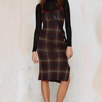 UNIFCameron Plaid Sweater Dress