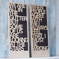 Oscar Wilde Quote Carved Art Board