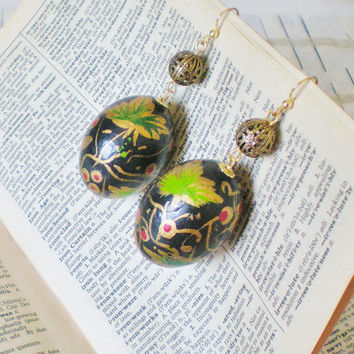 Asian Beads Earrings Old World Style