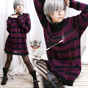Punk emo Ladder Sweater JUMPER Purple Eggplant 6 Stripe / 8 Stripe