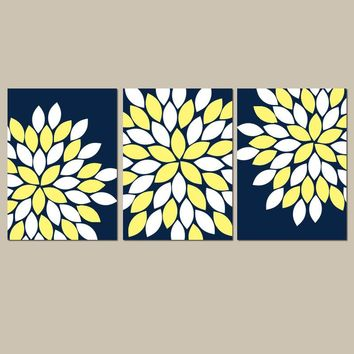 Navy Yellow Flower Wall Art, Flower Bedroom Pictures, CANVAS or Prints, Navy Yellow BATHROOM Decor, Set of 3, Navy Yellow Wall Decor