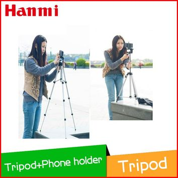 New Portable Phone Camera Tripod 4 Section Floor Tripod + Phone Holder for Cellphone Smartphone MP3 Player GPS Camera dslr